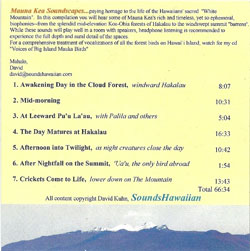 Contents Mauna Kea soundscapes